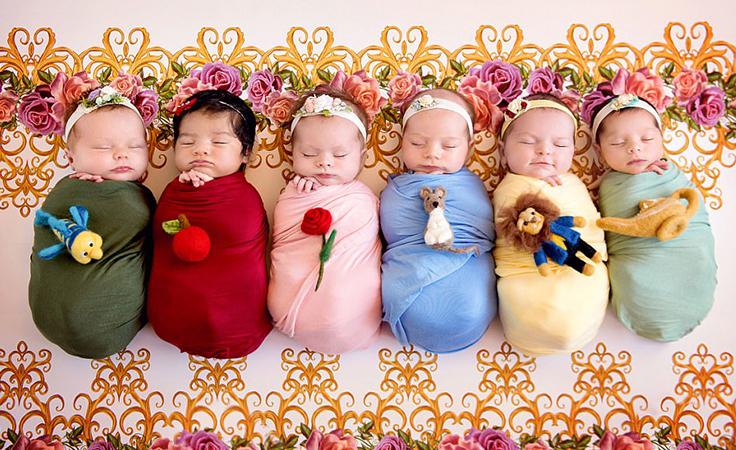 فتيات حديثات الولادة في جلسة تصوير موضوعها أميرات ديزني نواعم